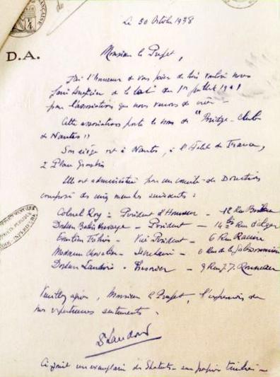 Lettre création du bcn 1938 Nantes